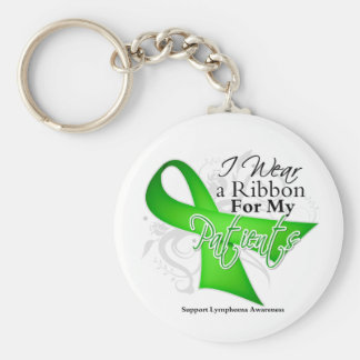 Patients Lime Green Ribbon - Lymphoma Basic Round Button Keychain