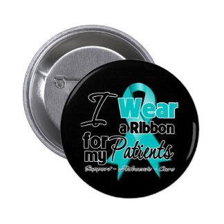 Patients - Teal Awareness Ribbon Pinback Button