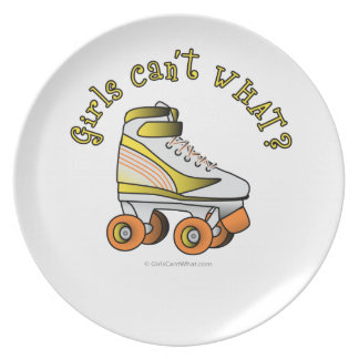 Patín de Derby del rodillo - amarillo Plato Para Fiesta