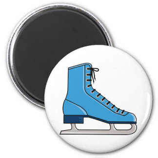 Patín de hielo azul imán redondo 5 cm