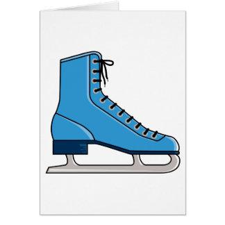 Patín de hielo azul tarjeta de felicitación