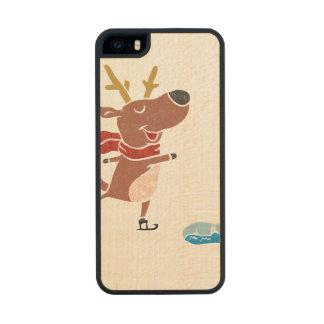 Patín de hielo del reno funda de arce carved® para iPhone 5 slim