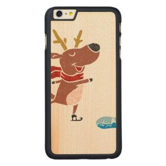 Patín de hielo del reno funda de arce carved® para iPhone 6 plus