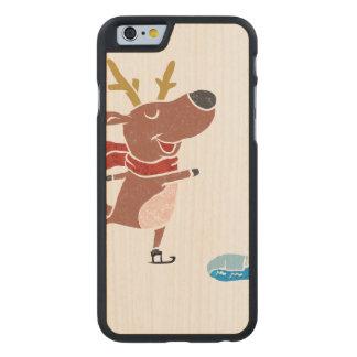 Patín de hielo del reno funda de iPhone 6 carved® de arce