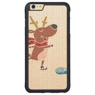 Patín de hielo del reno funda para iPhone 6 plus de carved® de nogal