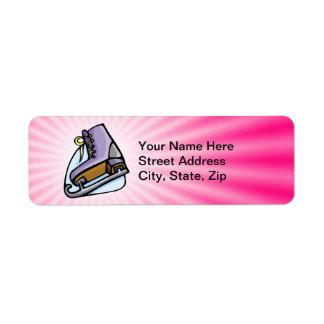 Patín de hielo rosado etiqueta de remite
