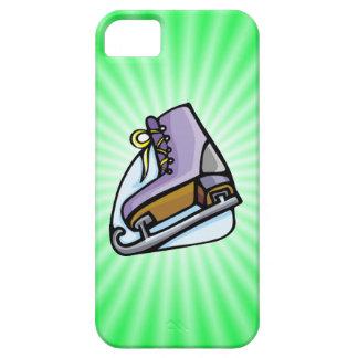 Patín de hielo verde de neón iPhone 5 fundas
