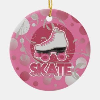 Patín de ruedas rosado del remolino de la burbuja, ornamento para arbol de navidad