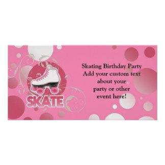 Patín de ruedas rosado del remolino de la burbuja, tarjetas personales