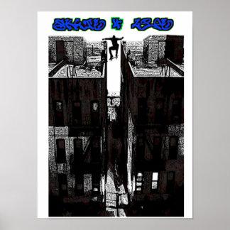 PATÍN de ZombieZ TEJADO GAP de 4 VIDAS Poster