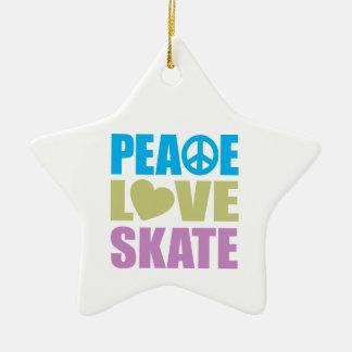 Patín del amor de la paz adornos de navidad