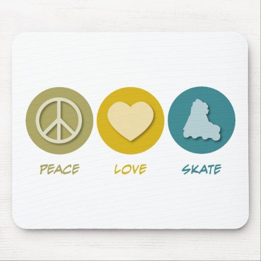 Patín del amor de la paz alfombrilla de ratones