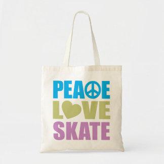 Patín del amor de la paz bolsa tela barata