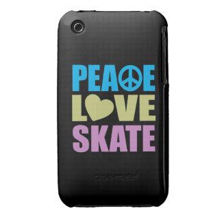 Patín del amor de la paz iPhone 3 Case-Mate cárcasa