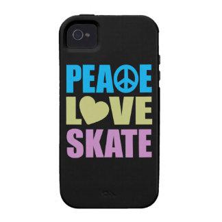 Patín del amor de la paz iPhone 4 carcasa