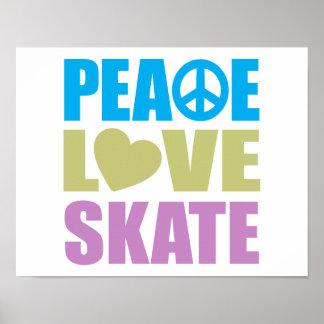 Patín del amor de la paz póster
