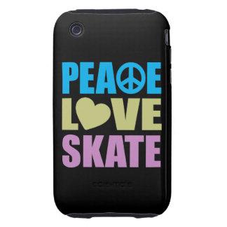Patín del amor de la paz tough iPhone 3 cobertura