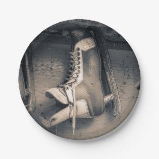 Patín del hockey del vintage platos de papel
