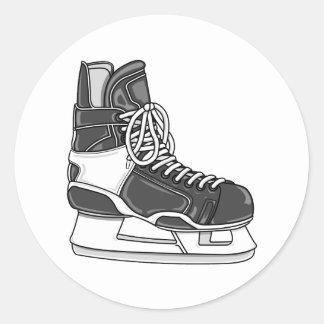 Patín del hockey etiqueta redonda