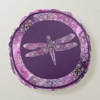 Pátina púrpura: Libélula Cojín Redondo