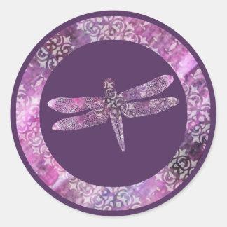 Pátina púrpura: Libélula Pegatina Redonda