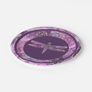 Pátina púrpura: Libélula Plato De Papel 17,78 Cm