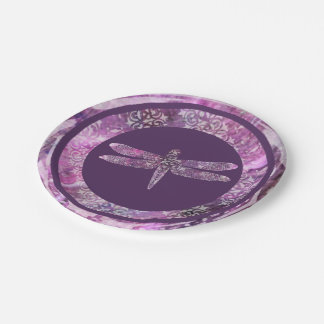 Pátina púrpura: Libélula Plato De Papel De 7 Pulgadas