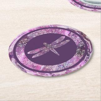 Pátina púrpura: Libélula Posavasos Desechable Redondo