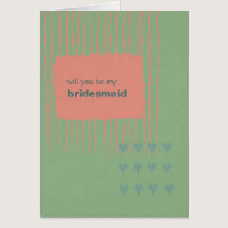 Patina, Sea & Coral Be My Bridesmaid Card