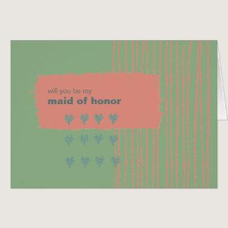 Patina, Sea & Coral Be My Maid of Honor Card