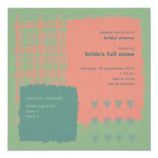 """Patina, Sea & Coral Bridal Shower Invitation 5.25"""" Square Invitation Card"""