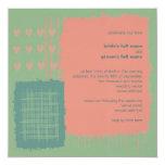 """Patina, Sea & Coral Wedding Invitation 5.25"""" Square Invitation Card"""