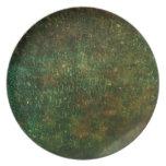 pátina verde plato para fiesta