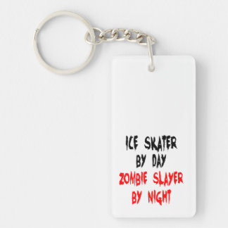 Patinador de hielo del asesino del zombi llavero rectangular acrílico a doble cara