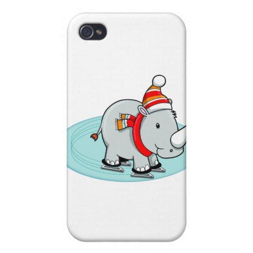 Patinador de hielo del rinoceronte del invierno iPhone 4/4S fundas