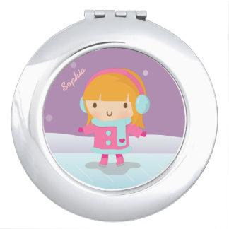 Patinador de hielo lindo del chica para los niños espejo compacto