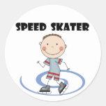 Patinador de la velocidad - camisetas y regalos etiqueta redonda