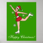 Patinador del navidad en el gorra de Santa Poster