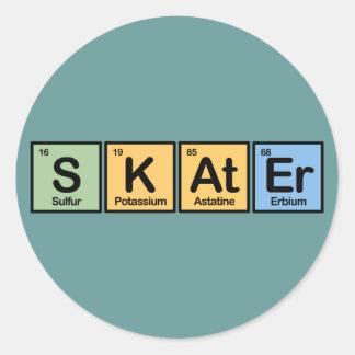 Patinador hecho de elementos pegatina redonda