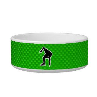 Patinador verde de la velocidad tazón para comida gato