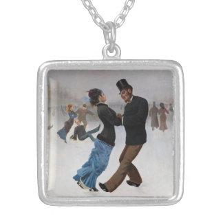 Patinadores de hielo románticos del vintage collar personalizado
