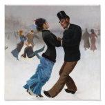 Patinadores de hielo románticos del vintage foto