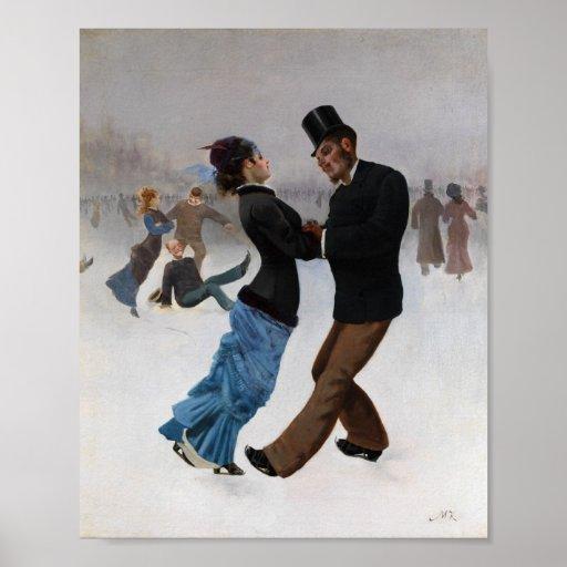 Patinadores de hielo románticos del vintage póster