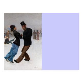 Patinadores de hielo románticos del vintage tarjetas postales