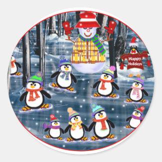 Patinadores de los pingüinos pegatina redonda