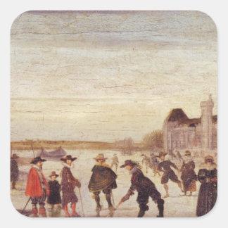 Patinadores en el Sena en 1608 Pegatina Cuadrada