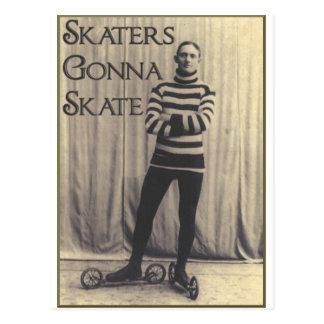 Patinadores que van a patinar… tarjeta postal