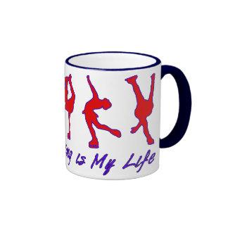 Patinaje artístico es mi vida - rojo, blanco y taza de dos colores