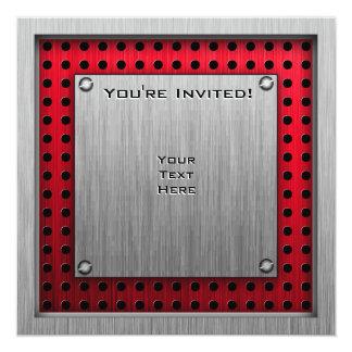 Patinaje artístico; Metal-mirada roja Invitacion Personalizada