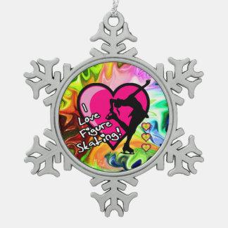 Patinaje artístico - ornamento líquido del arco adorno de peltre en forma de copo de nieve